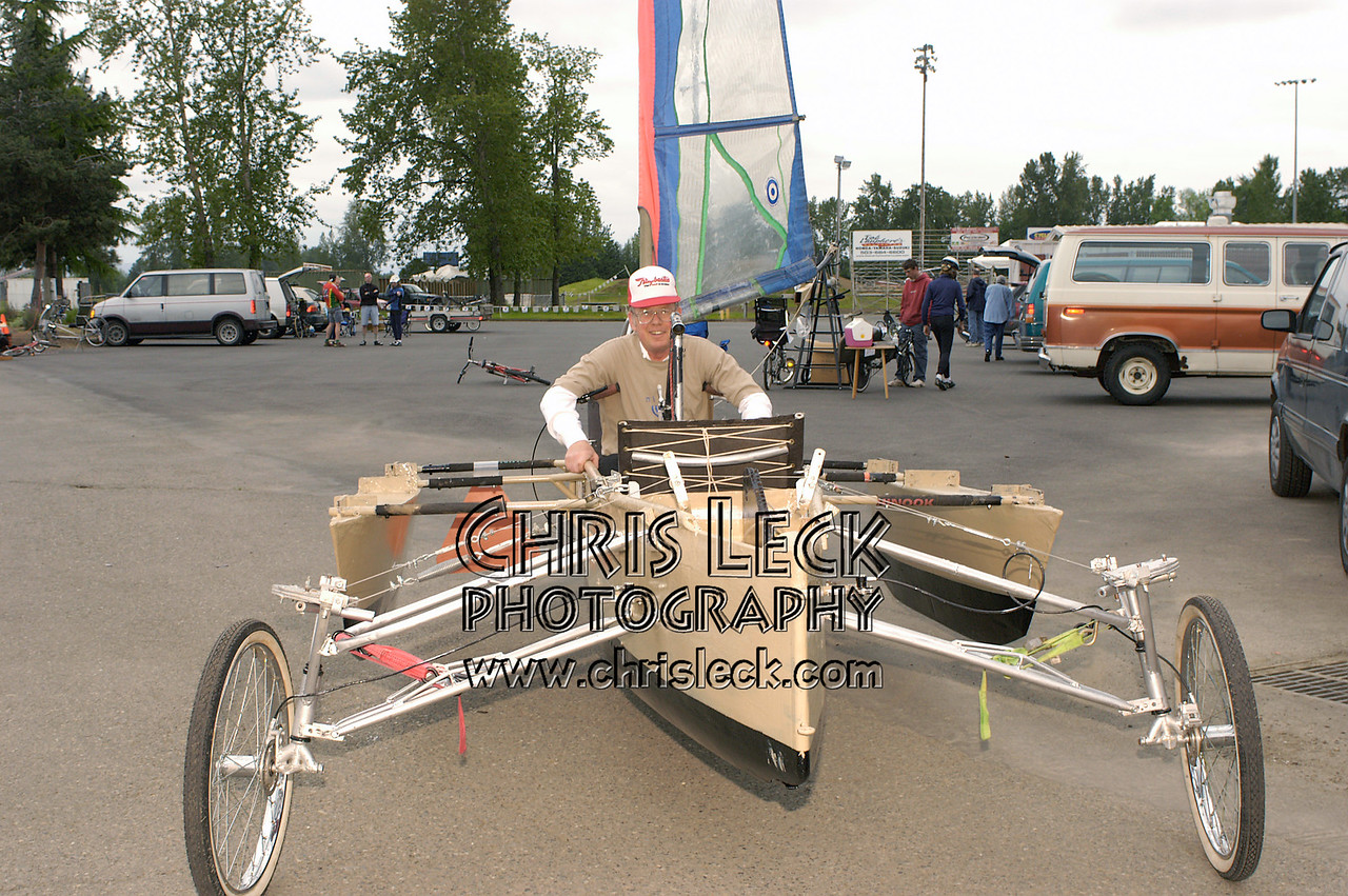 Tad Winiecki shows off his Shimon's Boat kinetic sculpture. Oregon Human Powered Vehicles 6th Annual Human Power Challenge, May 29, 2005, Portland International Raceway.