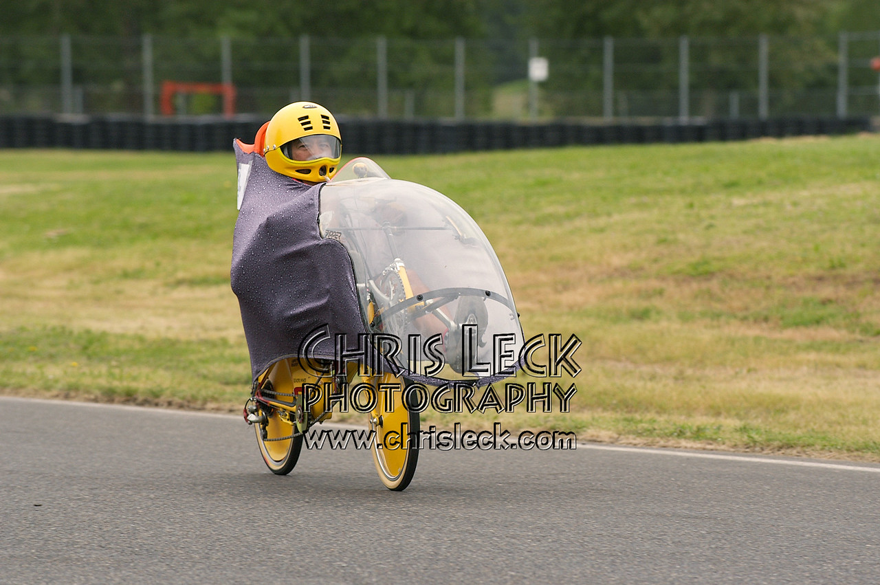 Rick Valbuena. Time trial, fully-faired divisions. Oregon Human Powered Vehicles 6th Annual Human Power Challenge, May 28-29, 2005, at Portland International Raceway.