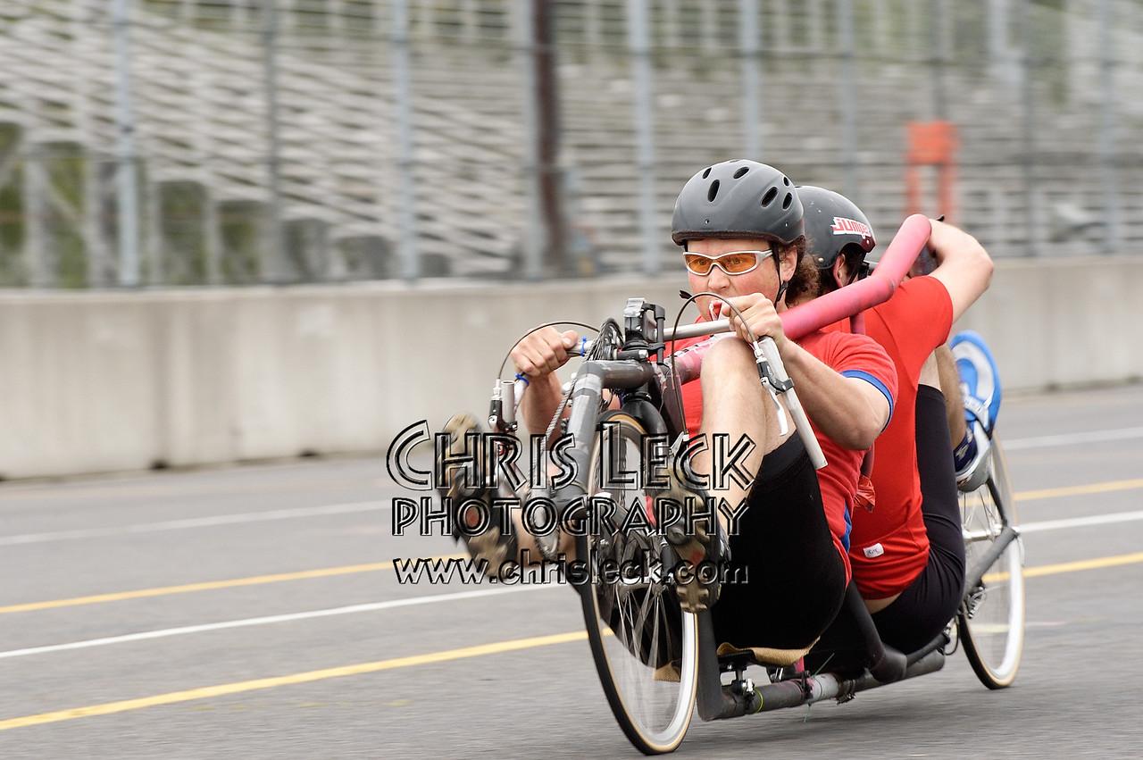 Dustin and Kelsey Wood. 200-meter sprints. Oregon Human Powered Vehicles 6th Annual Human Power Challenge, May 29, 2005, Portland International Raceway.