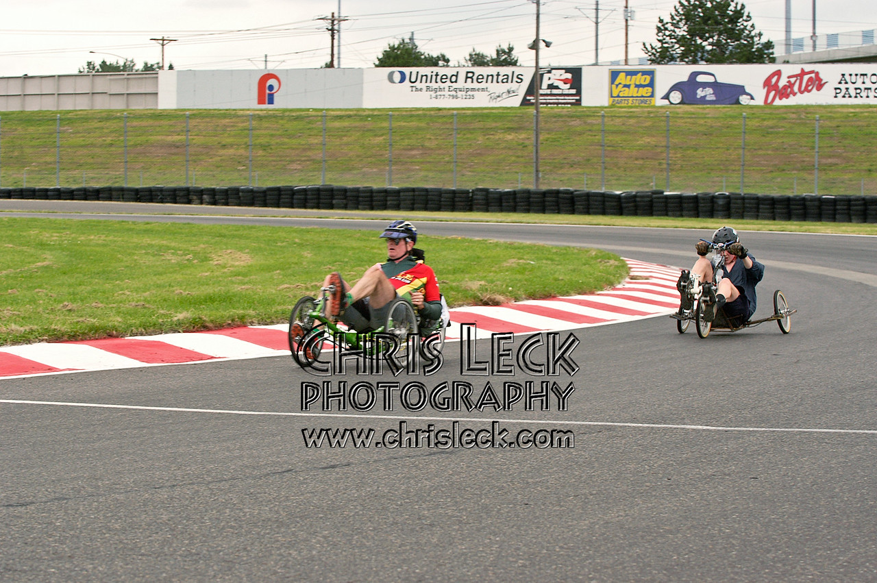 Bruce DeBell (l) and Jayman Henry. Road race, unfaired divisions. Oregon Human Powered Vehicles 6th Annual Human Power Challenge, May 29, 2005, Portland International Raceway.