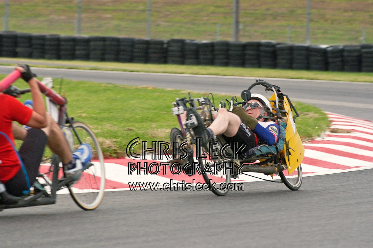 Is it possible to rear-end a back-to-back tandem? Road race, unfaired divisions. Oregon Human Powered Vehicles 6th Annual Human Power Challenge, May 29, 2005, Portland International Raceway.