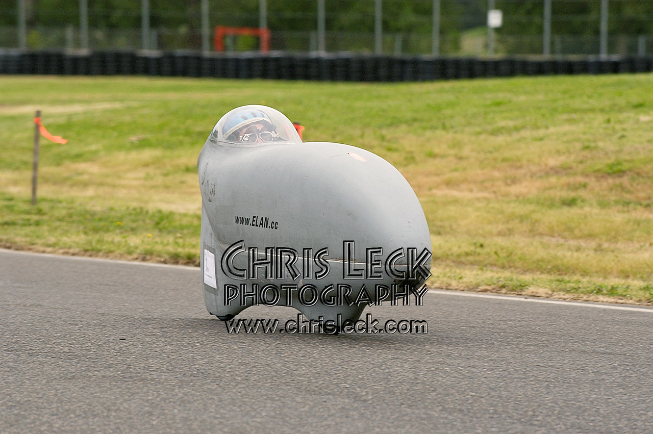 Joe Kochanowski. Time trial, fully-faired divisions. Oregon Human Powered Vehicles 6th Annual Human Power Challenge, May 28-29, 2005, at Portland International Raceway.