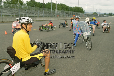 Michael Wolfe preps the field for the 200m sprints. Oregon Human Powered Vehicles 6th Annual Human Power Challenge, May 29, 2005, Portland International Raceway.