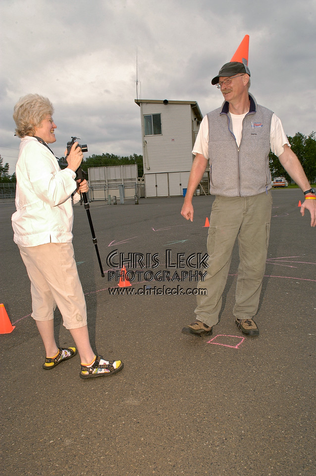 Jeff Wills does the magic Autocross dance as Connie McAyeal documents for anthropologists of the future. Oregon Human Powered Vehicles 6th Annual Human Power Challenge, May 29, 2005, Portland International Raceway.