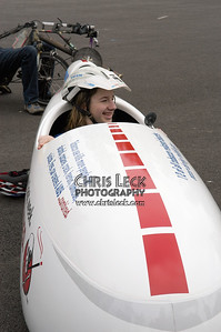 Alex Kohan tries out the Quest for size. Oregon Human Powered Vehicles 6th Annual Human Power Challenge, May 29, 2005, Portland International Raceway.