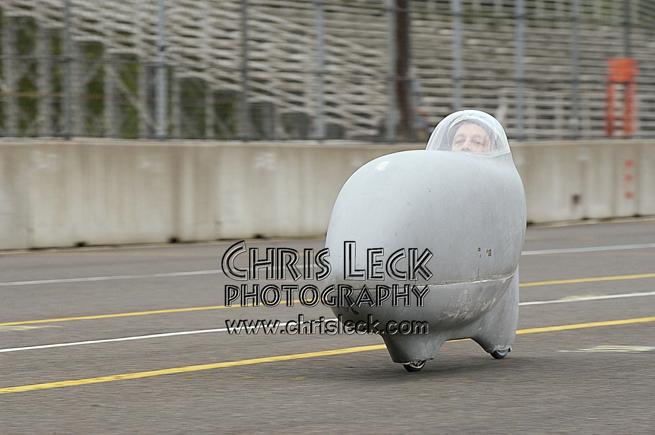 John Climaldi with the rubber side down. 200-meter sprints. Oregon Human Powered Vehicles 6th Annual Human Power Challenge, May 29, 2005, Portland International Raceway.