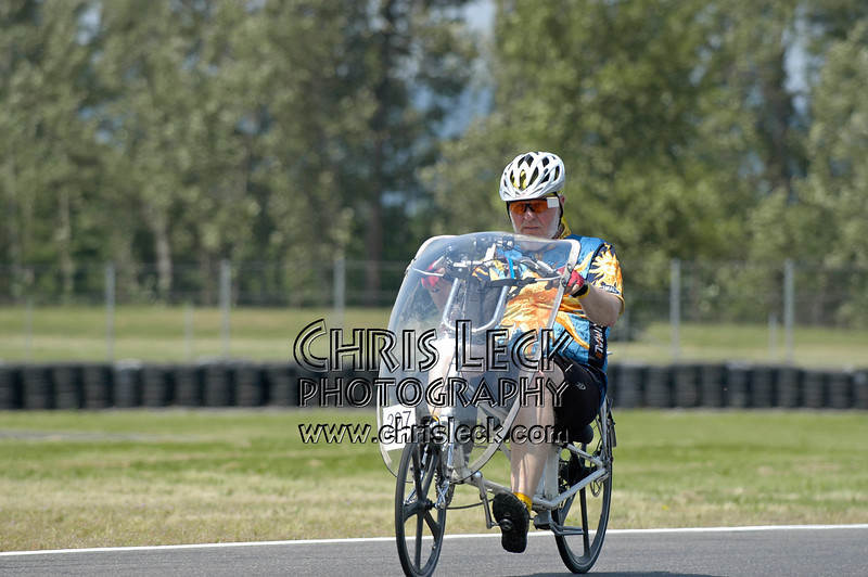 Dave Van Gundy. Time trial, unfaired divisions. Oregon Human Powered Vehicles 6th Annual Human Power Challenge, May 28, 2005, Portland International Raceway.