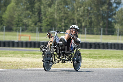 William Martin and 90 lbs. of joy. Time trial, unfaired divisions. Oregon Human Powered Vehicles 6th Annual Human Power Challenge, May 28, 2005, Portland International Raceway.