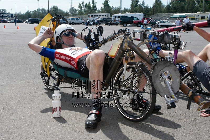Joe Kochanowski secretly plots a 1.2-legged victory. Oregon Human Powered Vehicles 6th Annual Human Power Challenge, May 28, 2005, Portland International Raceway.