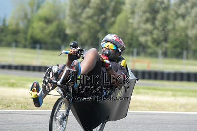 Richard Lanier, looking like a King Bee on his Pillow Bike. Time trial, unfaired divisions. Oregon Human Powered Vehicles 6th Annual Human Power Challenge, May 28, 2005, Portland International Raceway.
