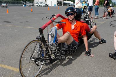 Not your typical tandem, rear view. Oregon Human Powered Vehicles 6th Annual Human Power Challenge, May 28, 2005, Portland International Raceway.