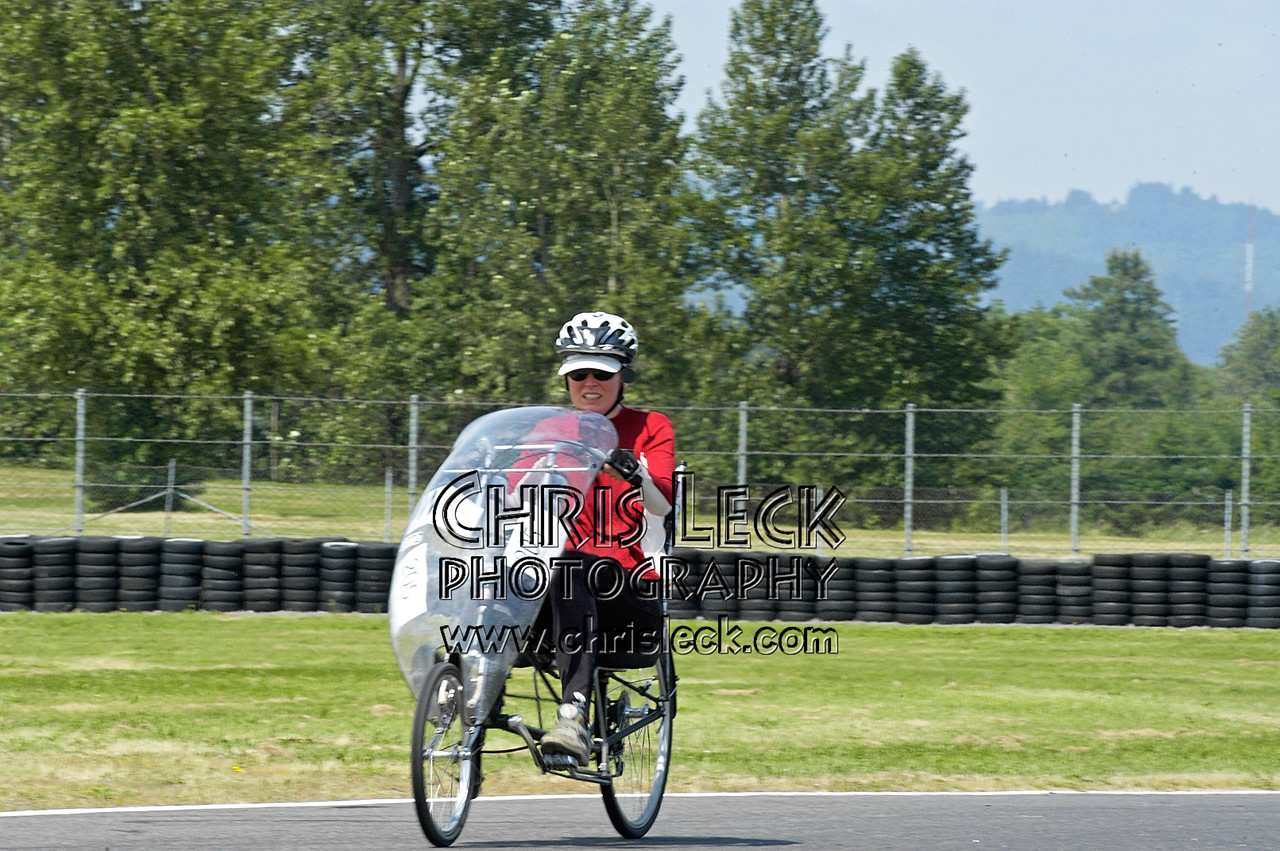Diane Wills. Time trial, unfaired divisions. Oregon Human Powered Vehicles 6th Annual Human Power Challenge, May 28, 2005, Portland International Raceway.