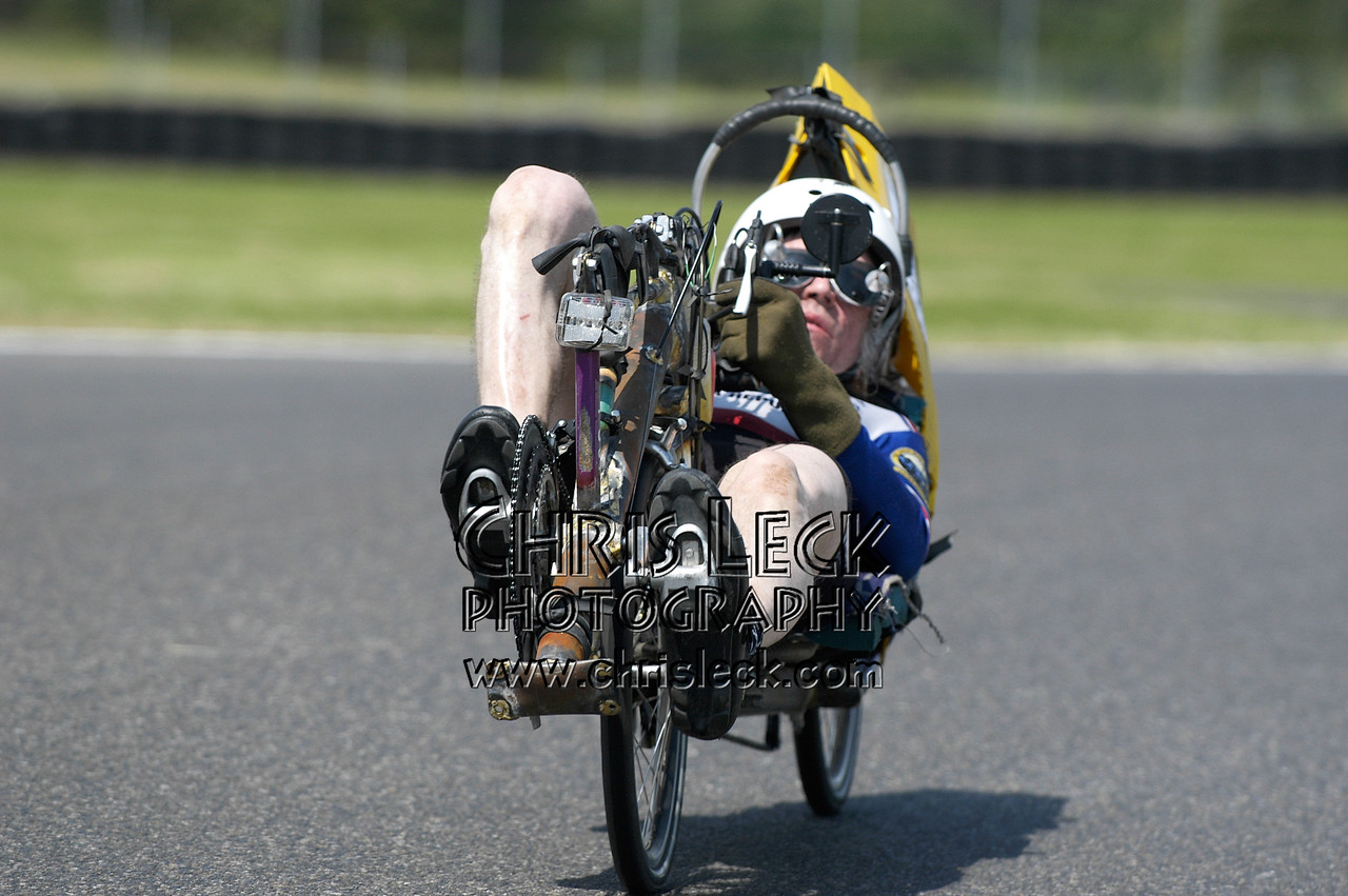 Keeping a low profile. Time trial, unfaired divisions. Oregon Human Powered Vehicles 6th Annual Human Power Challenge, May 28, 2005, Portland International Raceway.