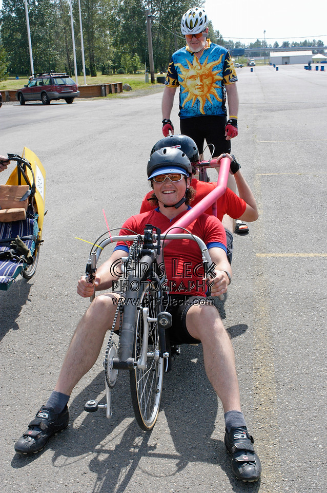 Not your typical tandem. Dustin and Kelsey Wood show off their Steve Nash back-to-back tandem. Oregon Human Powered Vehicles 6th Annual Human Power Challenge, May 28, 2005, Portland International Raceway.