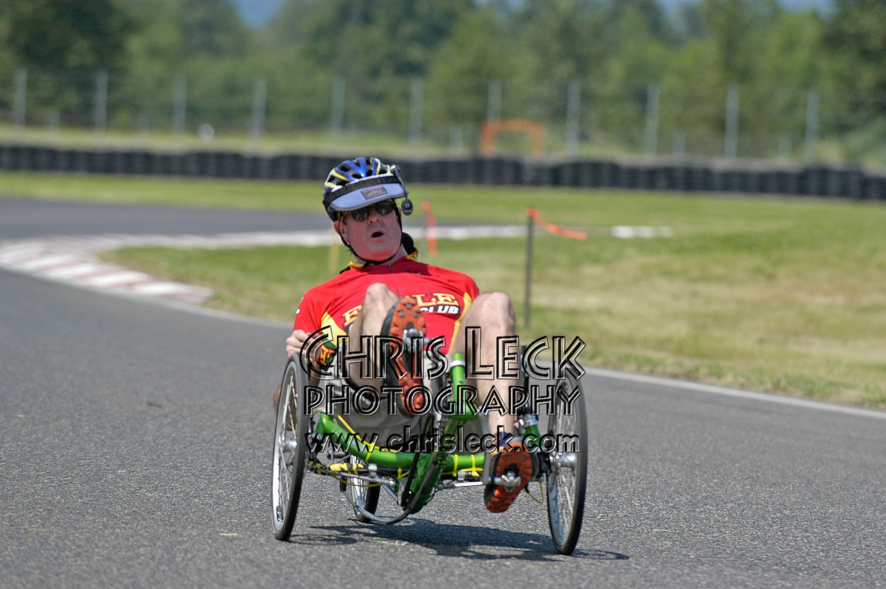 Bruce DeBell. Time trial, unfaired divisions. Oregon Human Powered Vehicles 6th Annual Human Power Challenge, May 28, 2005, Portland International Raceway.