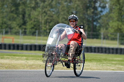 Jane Machamer, deprived of her hand cranks. Time trial, unfaired divisions. Oregon Human Powered Vehicles 6th Annual Human Power Challenge, May 28, 2005, Portland International Raceway.