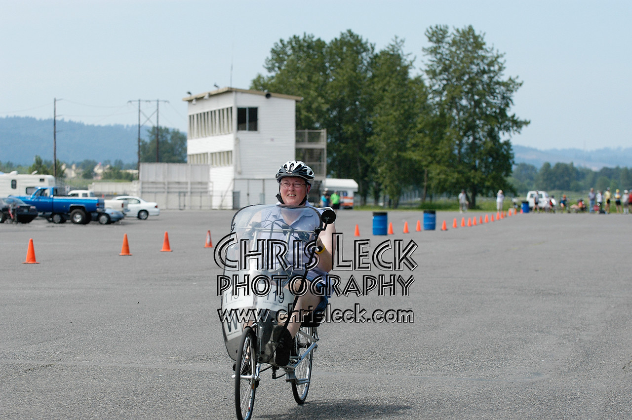 Edna Van Gundy in the drag races. Oregon Human Powered Vehicles 6th Annual Human Power Challenge, May 28, 2005, Portland International Raceway.