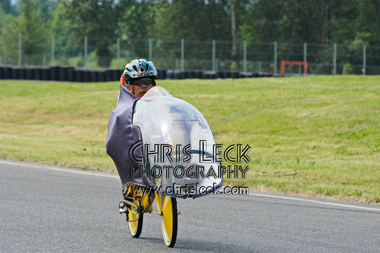 Rick Valbuena on his homebuilt. Road race, fully-faired divisions. Oregon Human Powered Vehicles 6th Annual Human Power Challenge, May 28, 2005, Portland International Raceway.