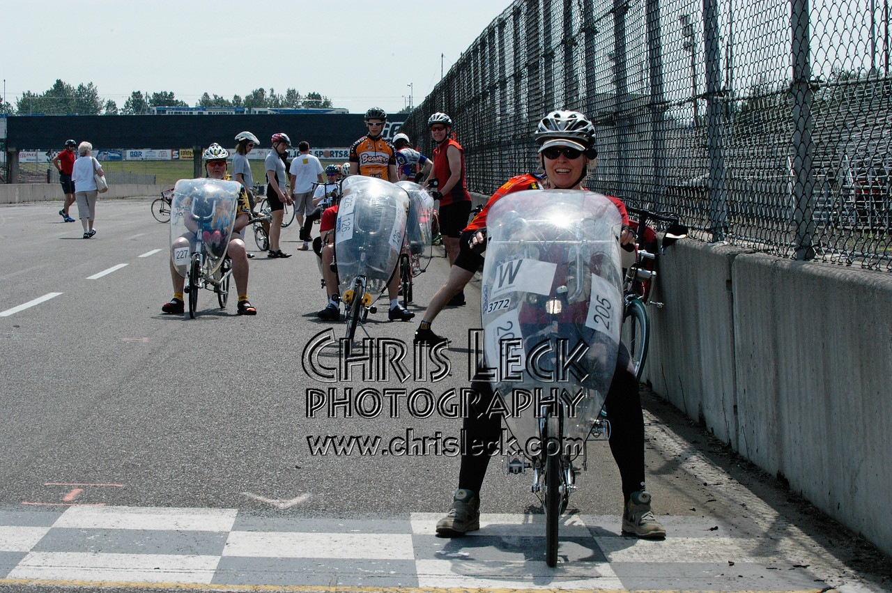 Diane Wills off the front prior to the start of the unfaired time trial. Oregon Human Powered Vehicles 6th Annual Human Power Challenge, May 28, 2005, Portland International Raceway.