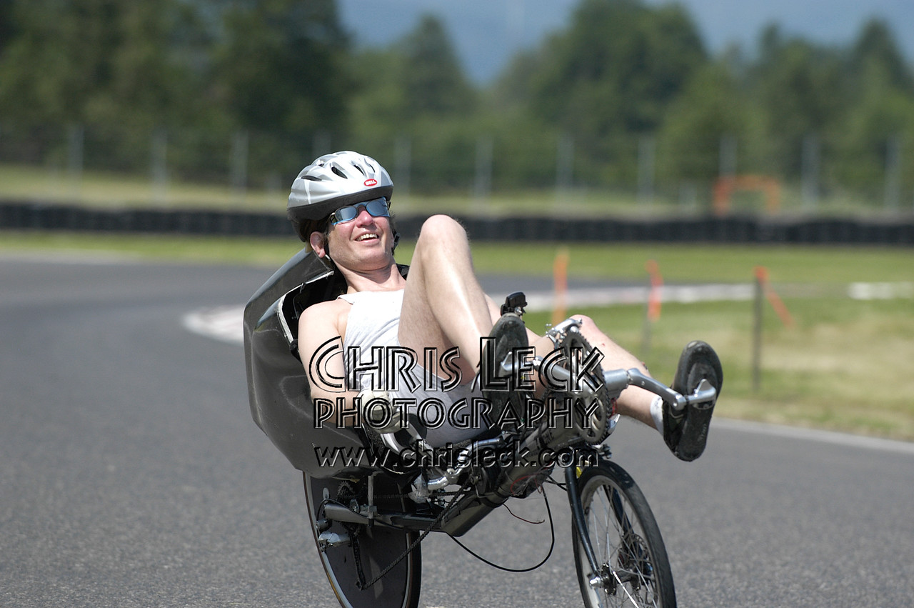 Steve Schuessler sunning himself. Time trial, unfaired divisions. Oregon Human Powered Vehicles 6th Annual Human Power Challenge, May 28, 2005, Portland International Raceway.