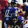 LANDOVER, MD - OCTOBER 15: Full back Obafemi Ayanbadejo #30 of the Baltimore Ravens blocks Linebacker Shawn Barber #59 of the Washingtin Redskins so that his teammate and ball carrier Running back Jamal Lewis #31 can take the lateral from Quaurterback Tony Lewis and run for a few good yards in a NFL game at FedEx Field on October 15, 2000 in Landover, Maryland. The Redskins won 10-3 against the Ravens. (Photo by Michael J. Minardi) *** Local Caption *** Obafemi Ayanbadedejo;Tony Banks;Jamal Lewis;Shawn Barber