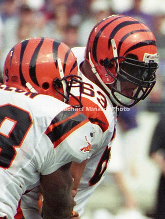 BALTIMORE, MD - SEPTEMBER 24: Quarter Back Scott Mitchell #19 of the Cincinnati Bengals gets sacked by Linebacker Cornell Brown #51 of the Baltimore Ravens during a NFL game at PSINet Stadium on September 24, 2000 in Baltimore, Maryland. The Ravens won the game 37-0. (Photo by Michael J. Minardi) *** Local Caption *** Scott Mitchell;Cornell Brown