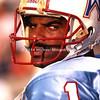 TAMPA, FL - AUGUST 12; Quarter Back Warren Moon #1 of the Houston Oilers studies the Tampa Bay Buccaneers on August, 12. 1989 in Tampa Stadium. Preseason score unknown. (Photo by Michael Minardi) *** Local Caption *** Warren Moon