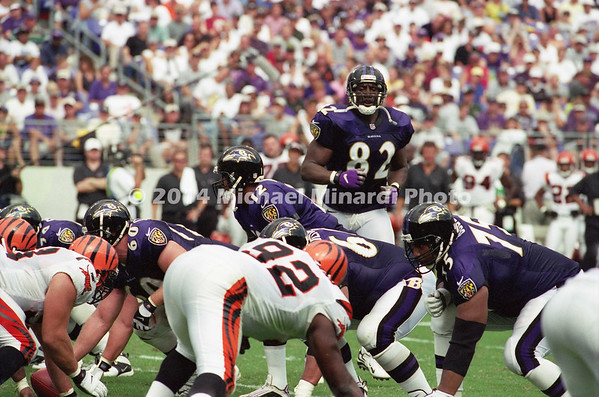 BALTIMORE, MD - SEPTEMBER 24: Tight End Shannon Sharpe #82 of the Baltimore Ravens moves paralell to the line from the right side to the left side upon a signal from the Quarter Back Tony Banks #12 in a NFL game against the Cincinnati Bengals at PSINet Stadium on September 24, 2000 in Baltimore, Maryland. The Ravens won the game 37-0. (Photo by Michael J. Minardi) *** Local Caption *** Shannon Sharpe;Tony Banks