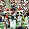 BALTIMORE, MD - SEPTEMBER 24: Umpire Jeff Rice #44 puts the ball on the down marker after thr privious play during a NFL game against the Cincinnati Bengals and the Baltimore Ravens at PSINet Stadium on September 24, 2000 in Baltimore, Maryland. The Ravens won the game 37-0. (Photo by Michael J. Minardi) *** Local Caption *** Jeff Rice