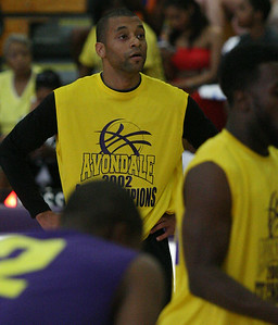 The Avondale Yellowjacket 2002 state championship team reunited to play a basketball game against past and present Avondale all-stars Friday, June 27, 2014. (Special to The Oakland Press/LARRY McKEE)