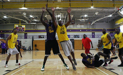 The Avondale Yellowjacket 2002 state championship team reunited to play a basketball game against past and present Avondale all-stars Friday, June 27, 2014.(Special to The Oakland Press/LARRY McKEE)