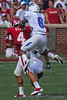 Air Force defensive back #6 Jon Davis, goes up high on Stills back to make the play and break up the pass.