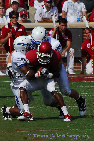 Broyles gets caught up by the Falcon defense.