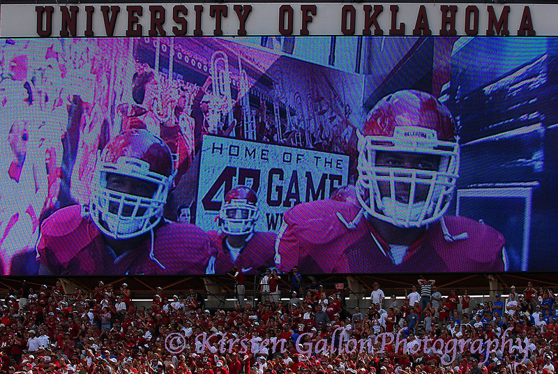 The extra large viewing screen at the south end zone shows the guys as they are coming down the tunnel, before they run onto the field.