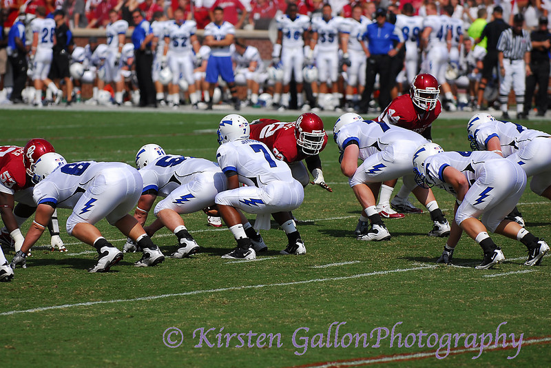Air Force quarterback #7 Tim Jefferson, Jr., gets down under center to start the Falcons on their first drive.
