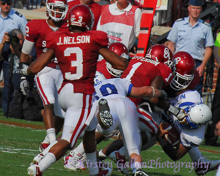 It appears OU's Jefferson got a bit of the facemask on this tackle.