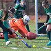 Cassidy Driscoll of Oakmont gets a shot on net against Quabog goalie Mikaela Gresty in the Div II field hockey Championship game.  SENTINEL & ENTERPRISE / Jim Marabello