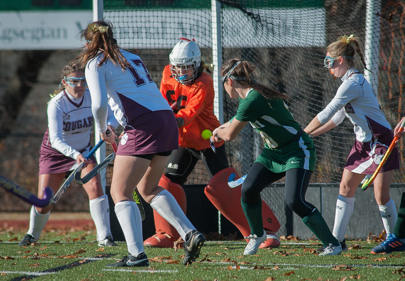 Oakmont's Cassidy Driscoll pokes at a save by Quabog goalie Mikaela Gresty in the Div II field hockey Championship game.  SENTINEL & ENTERPRISE / Jim Marabello