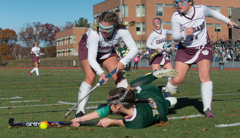 Cassidy Driscoll of Oakmont gets upended as she moves in towards the Quabog net in the Div II field hockey Championship game.  SENTINEL & ENTERPRISE / Jim Marabello