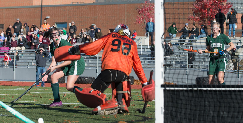 Oakmont's Sarah Craig (4) and Lauren Ladue watch as a shot goes past Quabog goalie Mikaela Gresty in the Div II field hockey Championship game.  SENTINEL & ENTERPRISE / Jim Marabello
