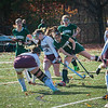 Oakmont's Taylor Ladue crashes hard into Quabog's Carly Duff early on in the Div II Field Hockey CHamoionshio[ game which the Spartans won 5-1. SENTINEL & ENTERPRISE / Jim Marabello