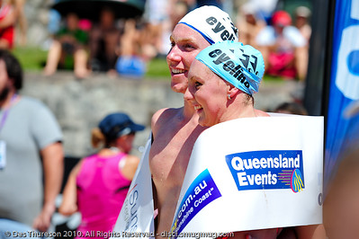 Trent Grimsey & Melissa Gorman pose for a victory photo - Mooloolaba Ocean Swim 27 March, 2010   http://www.usmevents.com.au/mooltri/media_270310-3.html