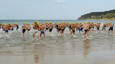 "Start - ""GO!"" - 2012 Eyeline 1000 Noosa Ocean Swim, Noosa Heads, Sunshine Coast, Queensland, Australia. Camera 1. Photos by Des Thureson."