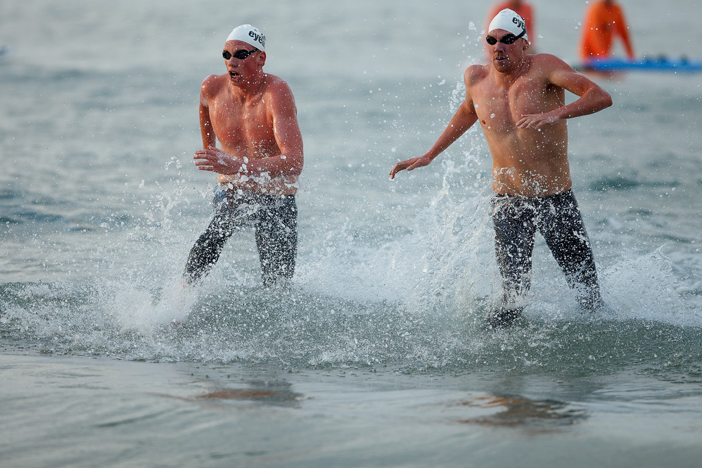Codie Grimsey, Trent Grimsey - Elite Competitors - 2012 Eyeline 1000 Noosa Ocean Swim, Noosa Heads, Sunshine Coast, Queensland, Australia. Camera 2. Photos by Des Thureson.