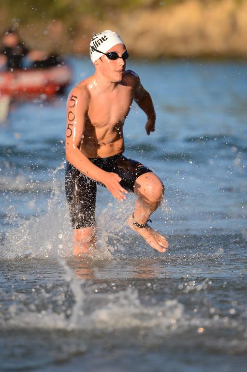 Max Osborn - Men's Elite Division - Finish -  2013 Eyeline 1000 Noosa Ocean Swim, Noosa Heads, Sunshine Coast, Queensland, Australia, 1 November. Photos by Des Thureson disci.smugmug.com