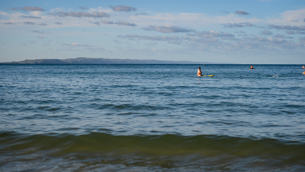 Idyllic afternoon scene on Laguna Bay - Finish -  2013 Eyeline 1000 Noosa Ocean Swim, Noosa Heads, Sunshine Coast, Queensland, Australia, 1 November. Photos by Des Thureson disci.smugmug.com