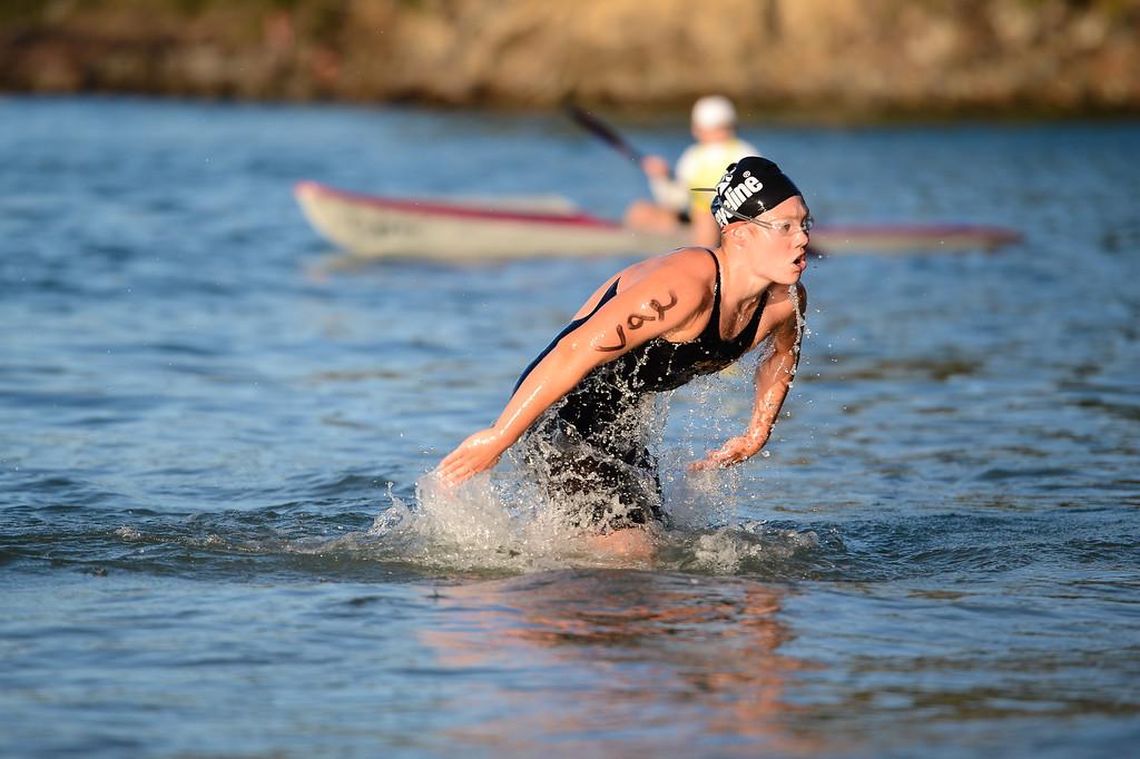 Winner Chelsea GUBECKA - Women's Elite Division - Finish -  2013 Eyeline 1000 Noosa Ocean Swim, Noosa Heads, Sunshine Coast, Queensland, Australia, 1 November. Photos by Des Thureson disci.smugmug.com