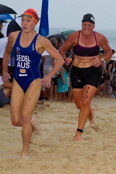 "Triathlete Kirralee Seidel - 2011 Noosa Ocean Swim (""Noosa Eyeline 1000""), Main Beach, Noosa Heads, Sunshine Coast, Queensland, Australia; Friday 28 October 2011. Photos by Des Thureson."