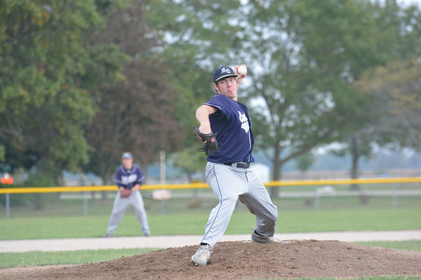 South Central's Tyler Ross fires a pitch toward home plate during the NTC tournament championship game.