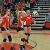 Effingham's Carly Glaspy (1) receives a serve during the Flaming Hearts' win against Altamont.